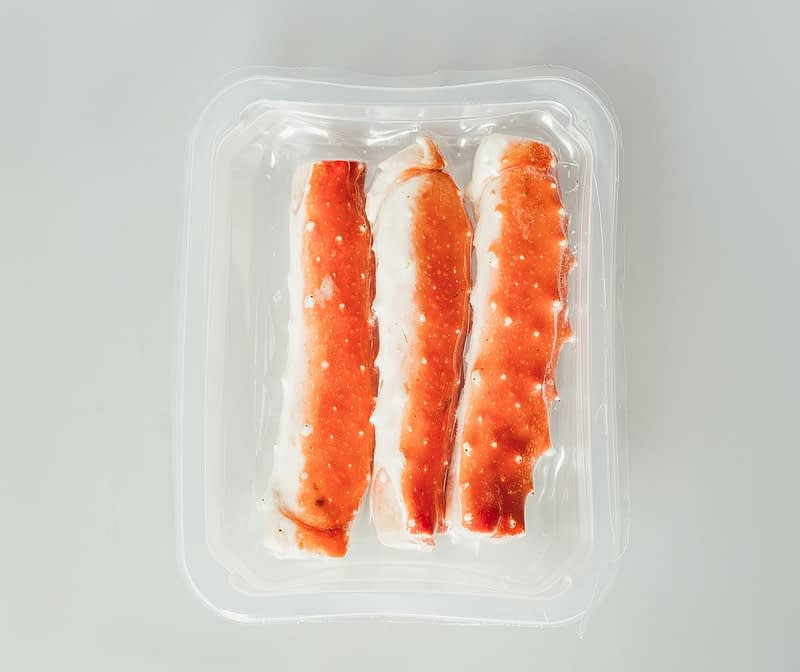 Russian King Crab shell on packed plastic