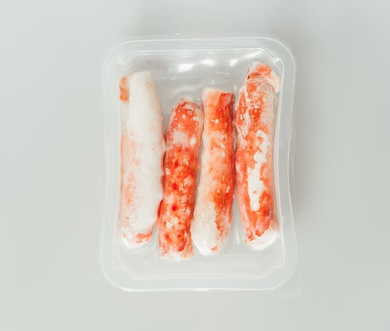 Russian King Crab shell off packed plastic